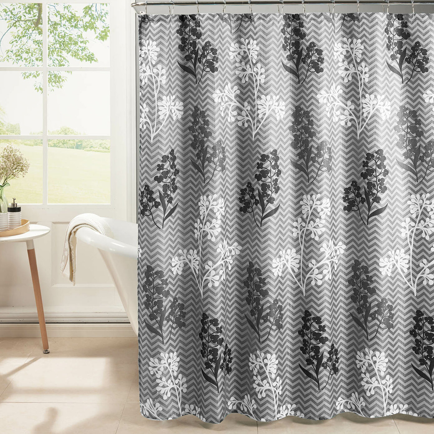 bed weave fabric bath textured pdx bathroom floral studio oxford wayfair set shower reviews curtain