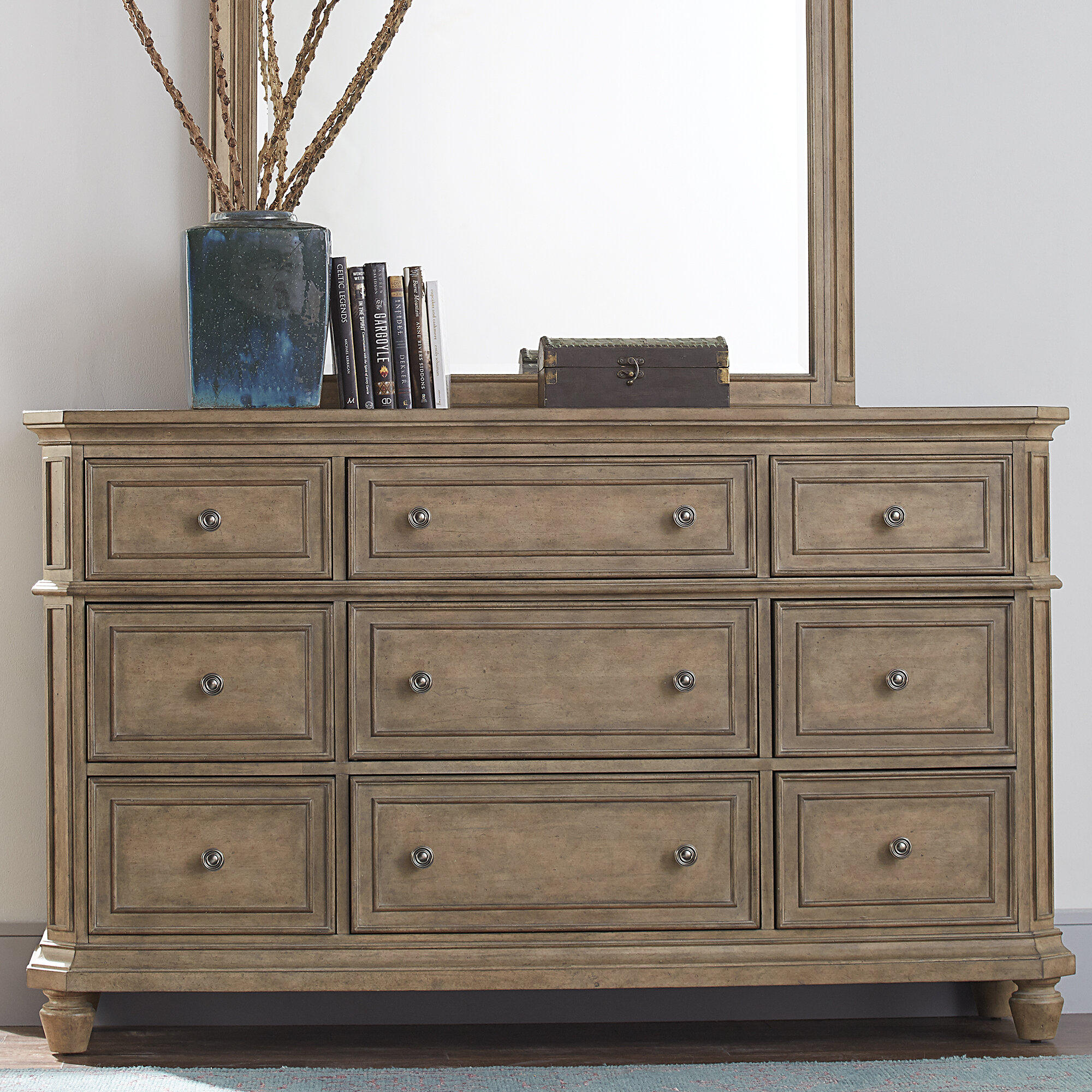 Darby Home Co Mckelvey 9 Drawer Double Dresser With Mirror Reviews Wayfair