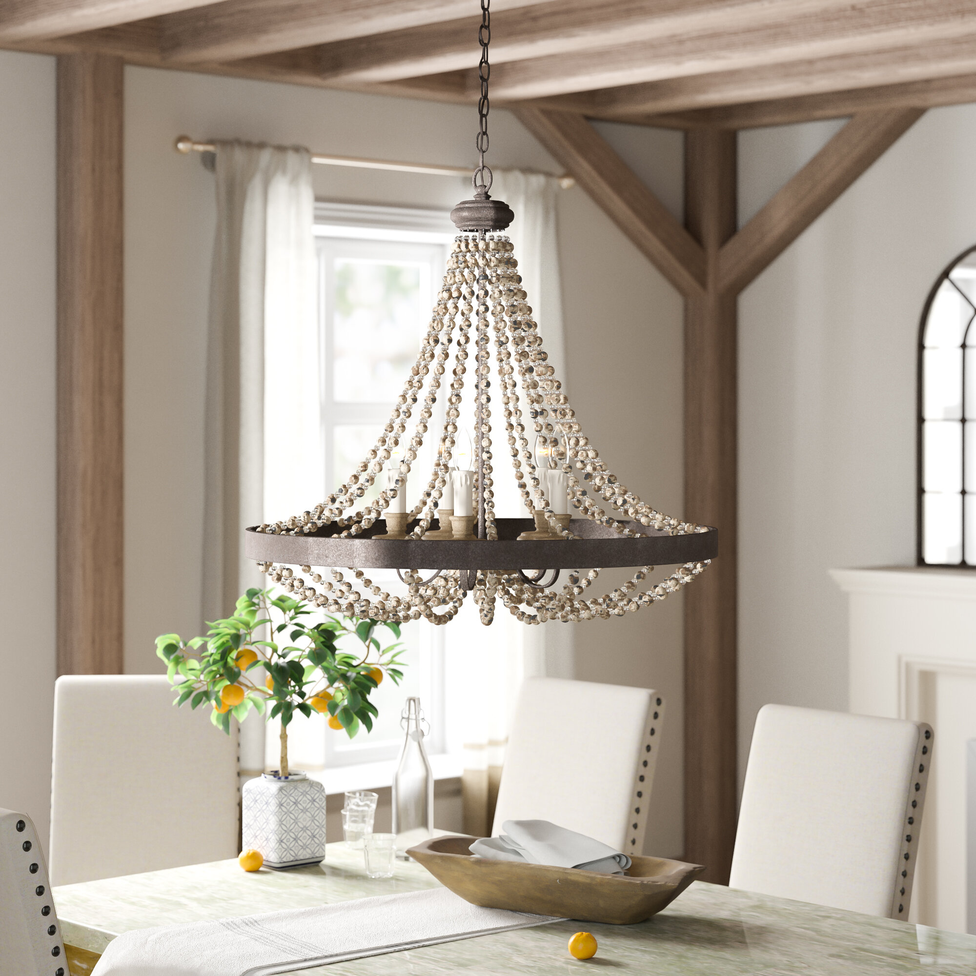 Birch Lane Aaden 5 Light Crystal Empire Chandelier With Beaded Accents Reviews Wayfair