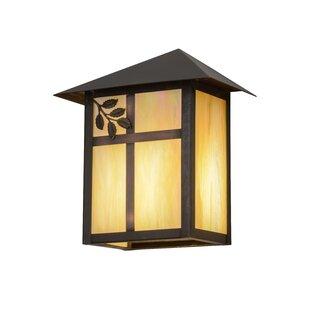 Reviews Greenbriar Oak 1-Light Outdoor Flush Mount By Meyda Tiffany