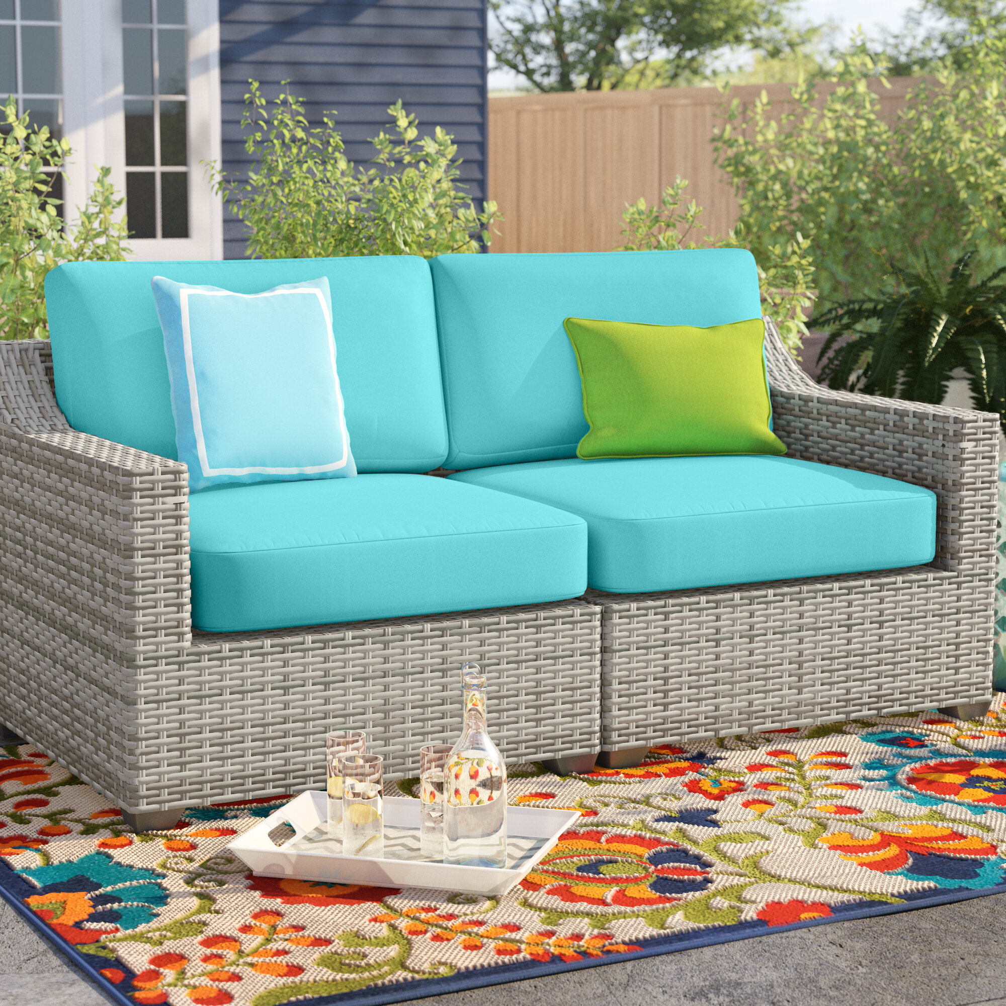 Sol 7 Outdoor™ Falmouth Loveseat with Cushions & Reviews  Wayfair