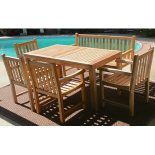 Teak 6 Piece Sunbrella Dining Set with Cushions by IKsunTeak