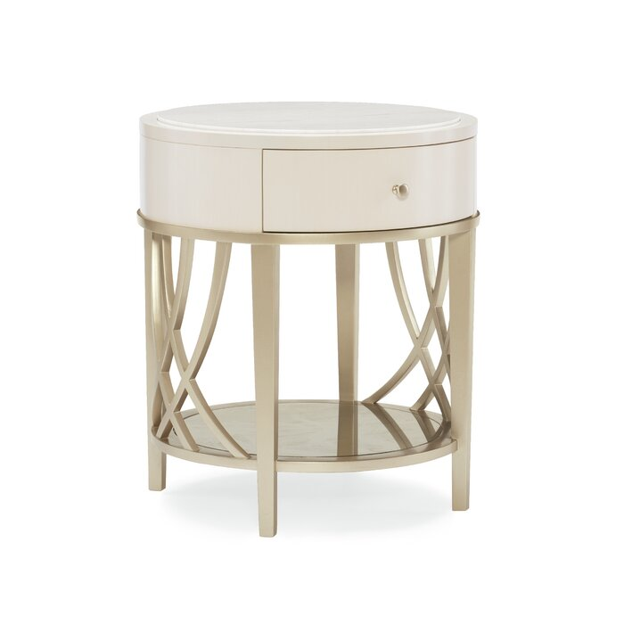 Adela Round End Table With Storage