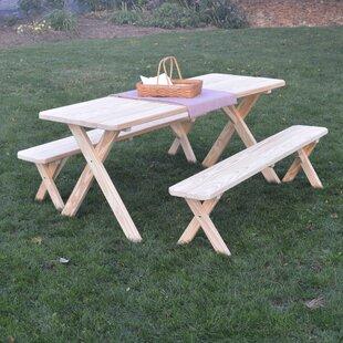 Loon Peak Sherburne Pine Cross-leg Picnic Table with 2 Benches