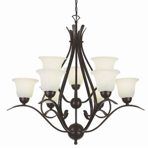 Contemporary 9-Light Shaded Chandelier