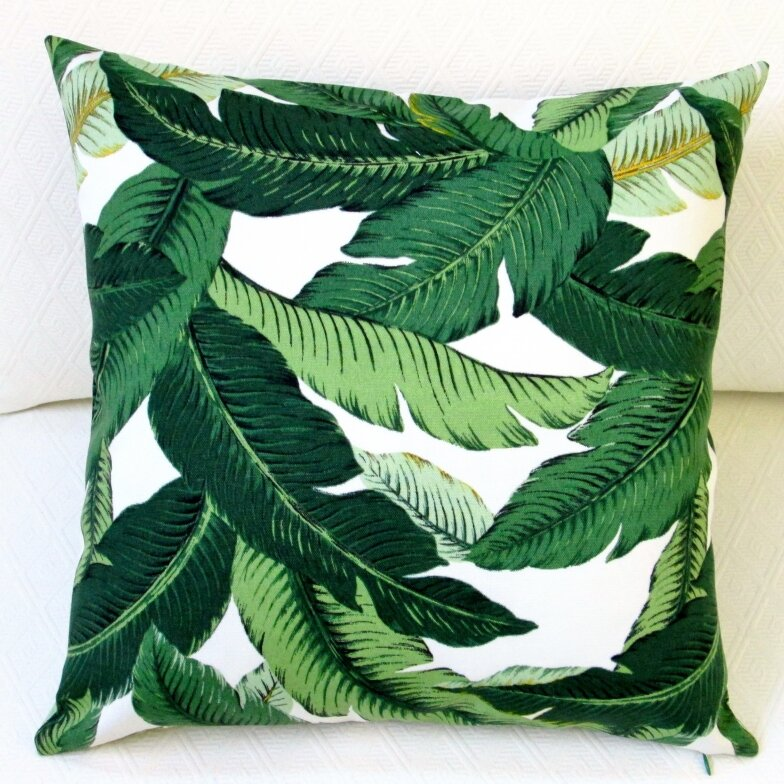 Brand-new Artisan Pillows Emerald Tropical Palm Leaf Indoor/Outdoor Throw  RS19