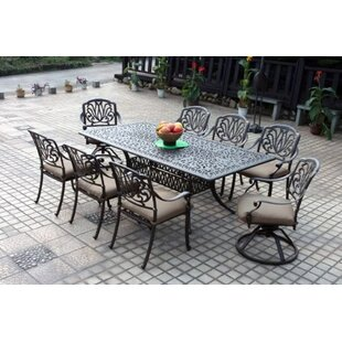 Astoria Grand Skyloft 9 Piece Rectangular Dining Set with Cushions