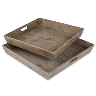 Bistro Planked Wood 2 Piece Serving Tray Set