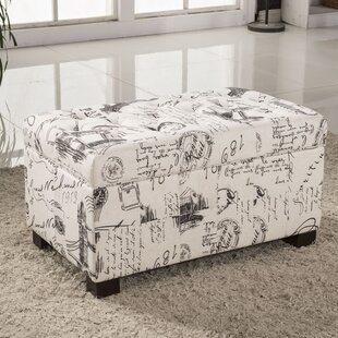 Bellasario Collection Paris Vintage French Writing Button Tufted Wood Storage Bench