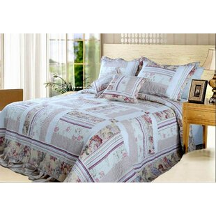 August Grove Cheddington Blossoming Cotton Patchwork Bedspread