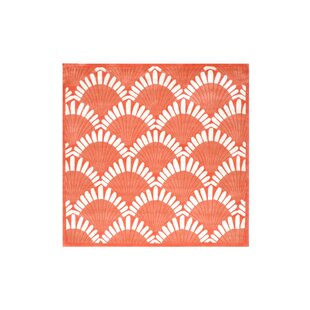 Best Reviews Alex Hand-Tufted Coral/White Area Rug By Highland Dunes