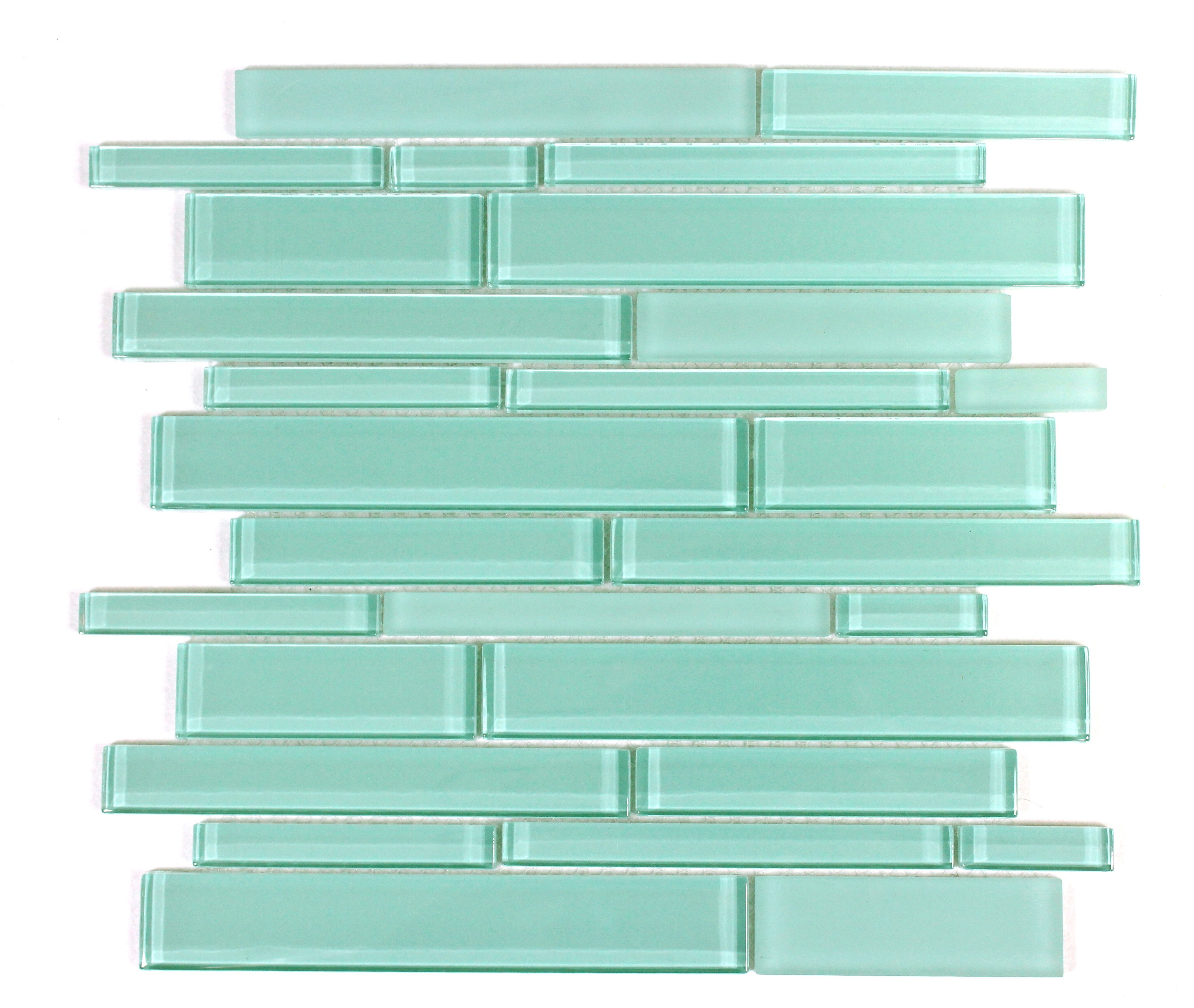 WS Tiles Premium Random Sized Glass Mosaic Tile in Teal & Reviews ...