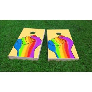Custom Cornhole Boards Gay Pride Rainbow Hand Cornhole Game (Set of 2)