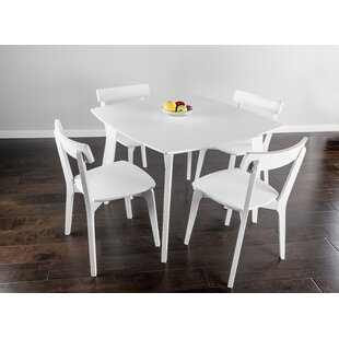 Otwin 5 Piece White Dining Table With Square Table And 4 White Chairs