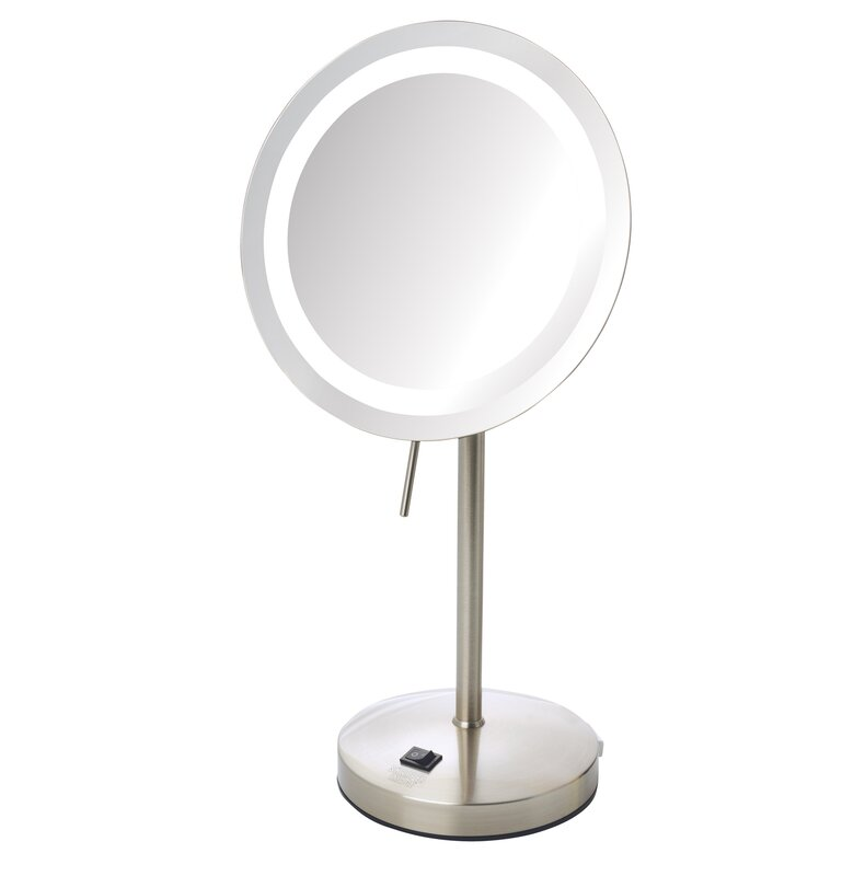 LED Lighted Tabletop 5x Magnification Mirror