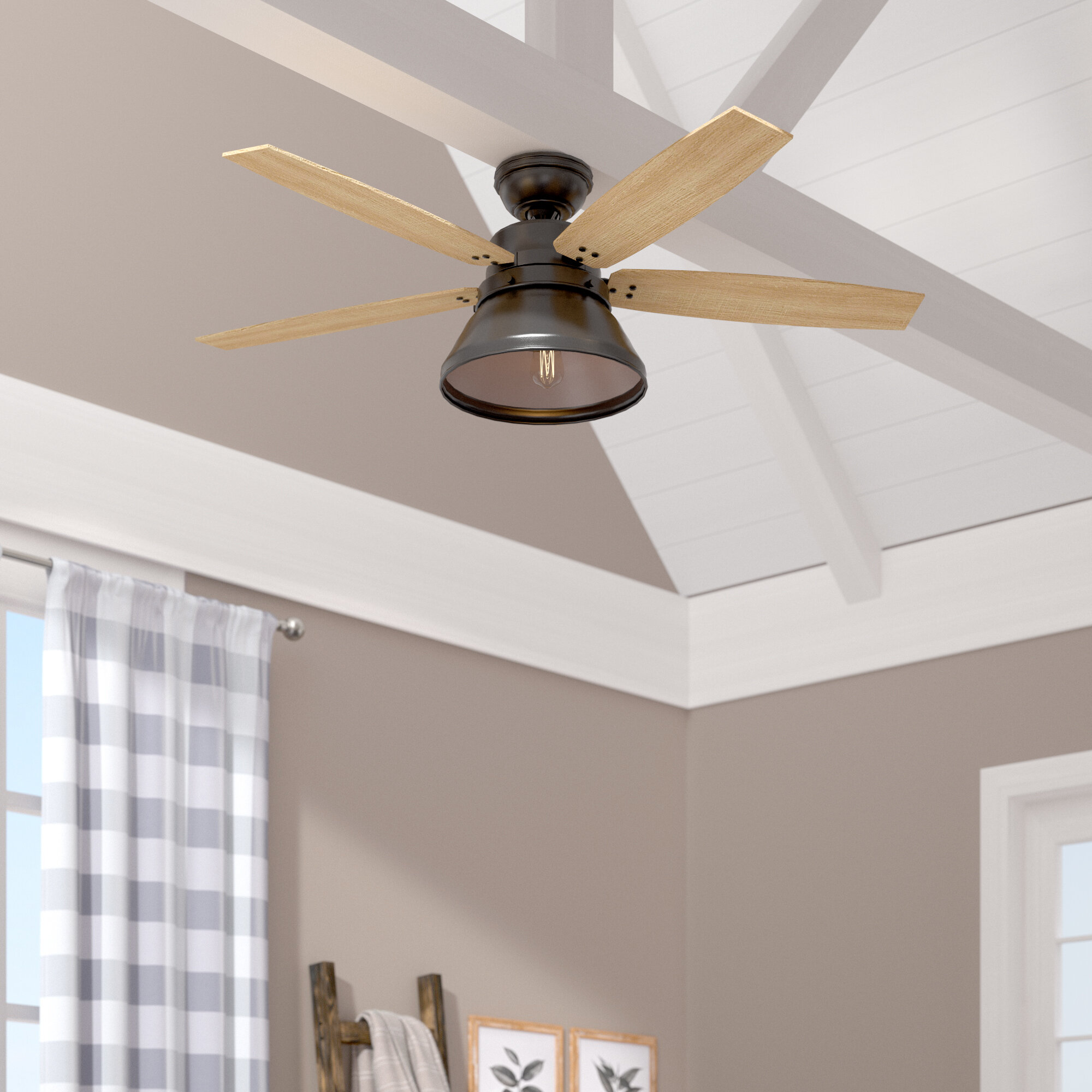 Hunter Fan 52 Beech Hollow 5 Blade Standard Ceiling Fan With Remote Control And Light Kit Included