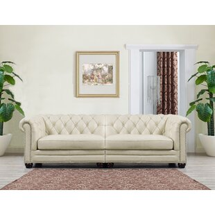 Lizete Cream Leather Chesterfield Sofa
