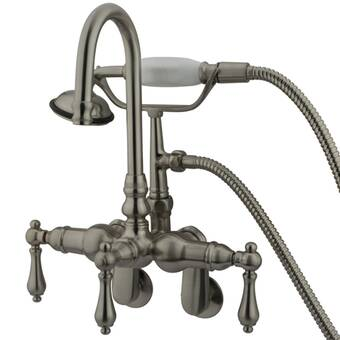 Elements Of Design Hot Springs Triple Handle Wall Mounted Clawfoot Tub Faucet With Handshower Reviews Wayfair