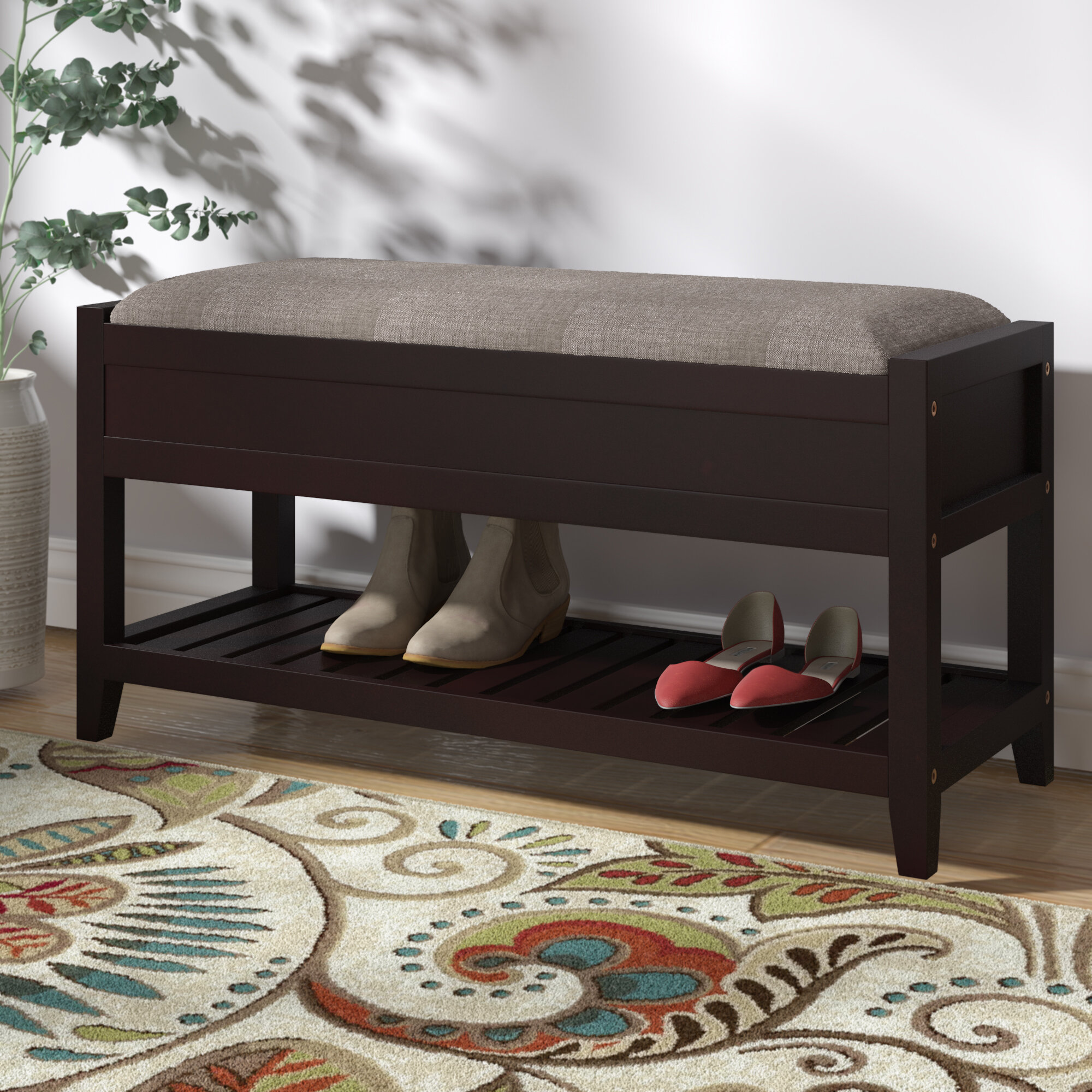 Charlton Home Lambrecht Seating Bench with Shoe Storage u0026 Reviews   Wayfair & Charlton Home Lambrecht Seating Bench with Shoe Storage u0026 Reviews ...