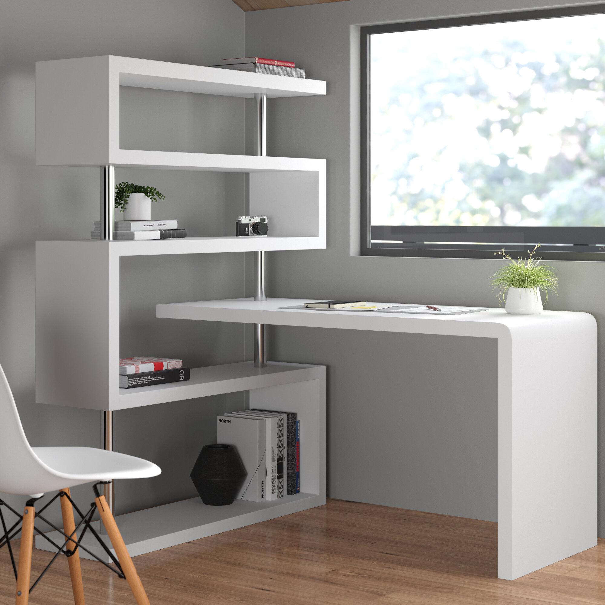 Waxman L Shape Credenza Desk With Bookcase