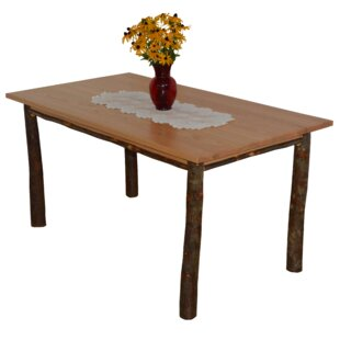 Wyton Hickory Solid Wood Dining Table Loon Peak