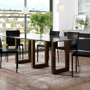 Orren Ellis Reesa Glass Solid Wood Dining Table