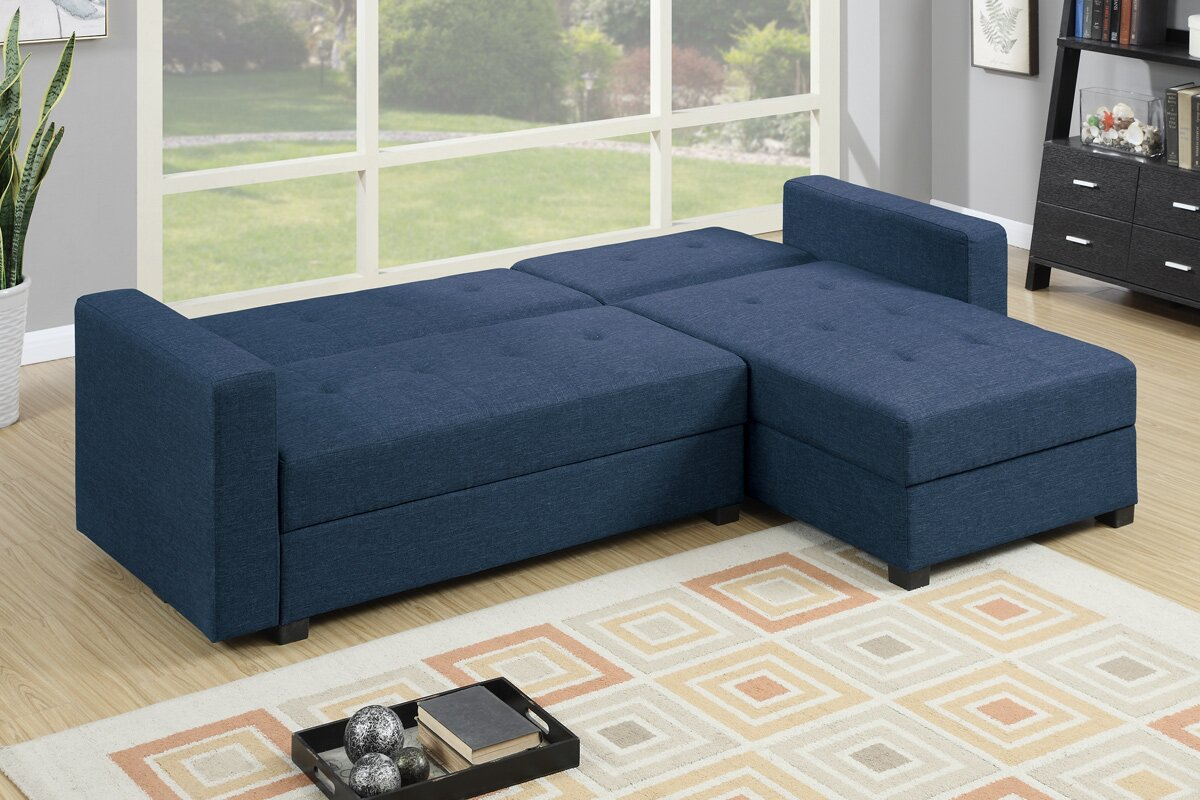 Poundex L Shaped Reversible Sleeper Sectional For Small