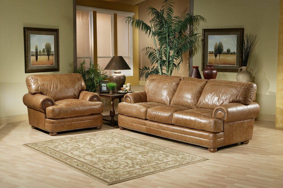 Omnia Leather Houston 6 Piece Sleeper Down Feather Configurable Living Room Set
