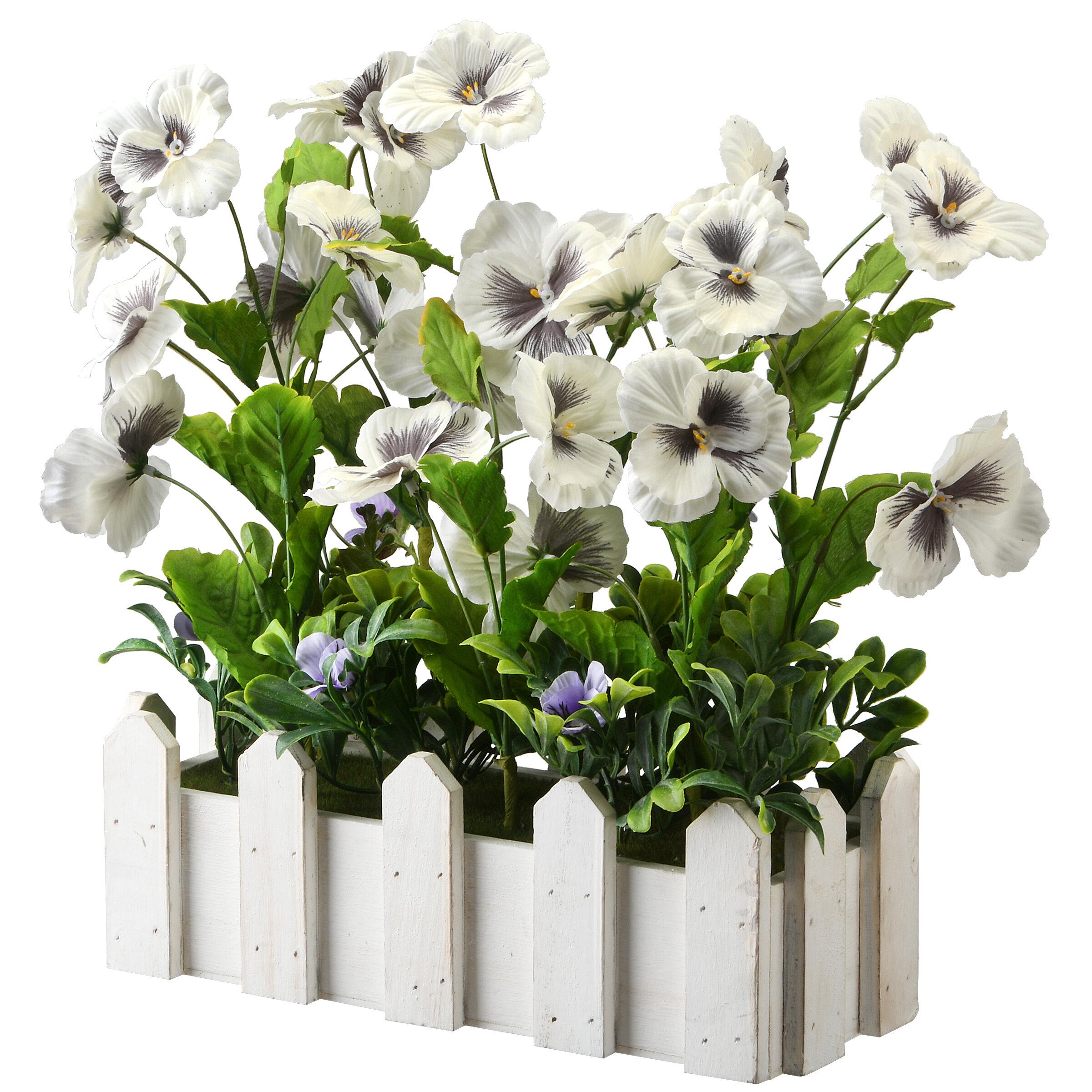 Gracie Oaks Artificial Flowering Plant In Planter Reviews Wayfair