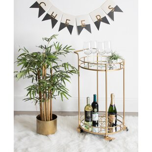 Askerby 2 Shelf Round Rolling Bar Cart by Wrought Studio