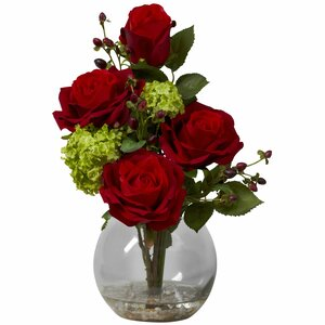 Silk Rose & Hydrangea with Vase