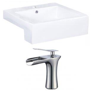 Royal Purple Bath Kitchen Xena Farmhouse Ceramic Rectangular Vessel Bathroom Sink with Faucet and Overflow