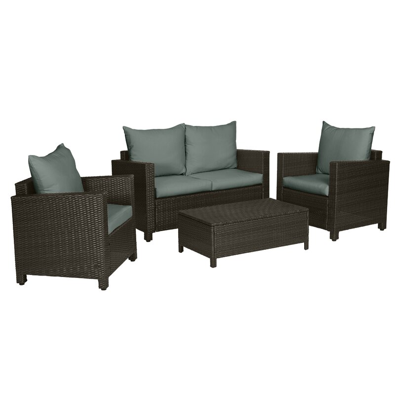 Belva 4 Piece Rattan Sofa Seating Group with Cushions