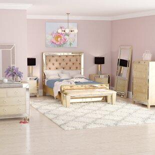 Alasdair Mirrored Tufted Platform 8 Piece Bedroom Set