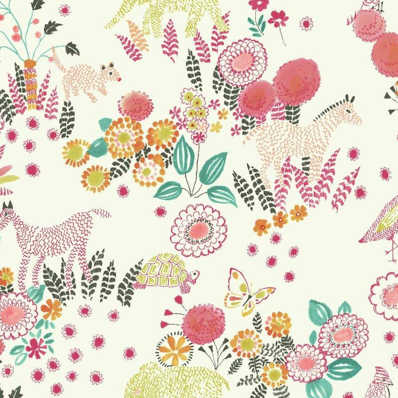 "Waverly Kids 27' x 27"" Botanical Wallpaper"