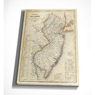 World map canvas art youll love vintage map new jersey ii graphic art print on wrapped canvas gumiabroncs Gallery