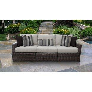 Kathy Ireland Homes Gardens River Brook 3 Piece Outdoor Wicker Patio Furniture Set 03c