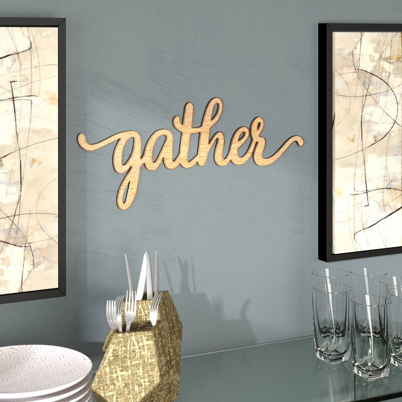 wrought studio gather script word wood sign wall décor reviews