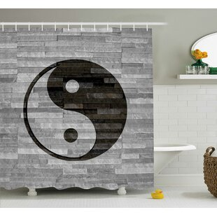 Alejandro Ying Yang Harmony Asian Shower Curtain + Hooks