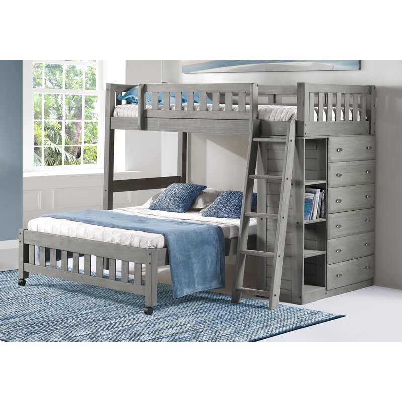 Greyleigh Booker Twin Over Full L Shaped Bunk Bed With Shelves Reviews Wayfair