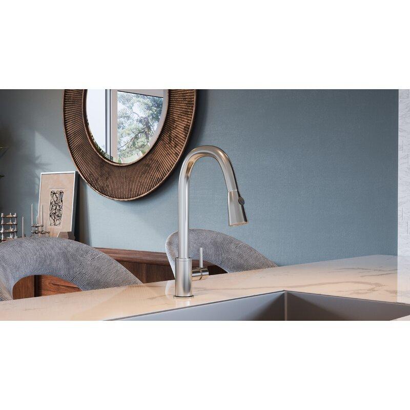 Ebern Designs Aspasia Pull Down Single Handle Kitchen Faucet Wayfair