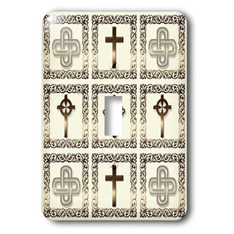 3drose Four Different Ornate Christian Crosses In A Gold Frame On A Creme Beige Background 1 Gang Toggle Light Switch Wall Plate Wayfair