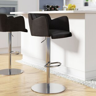 Maliah Adjustable Height Swivel Bar Stool Wade Logan