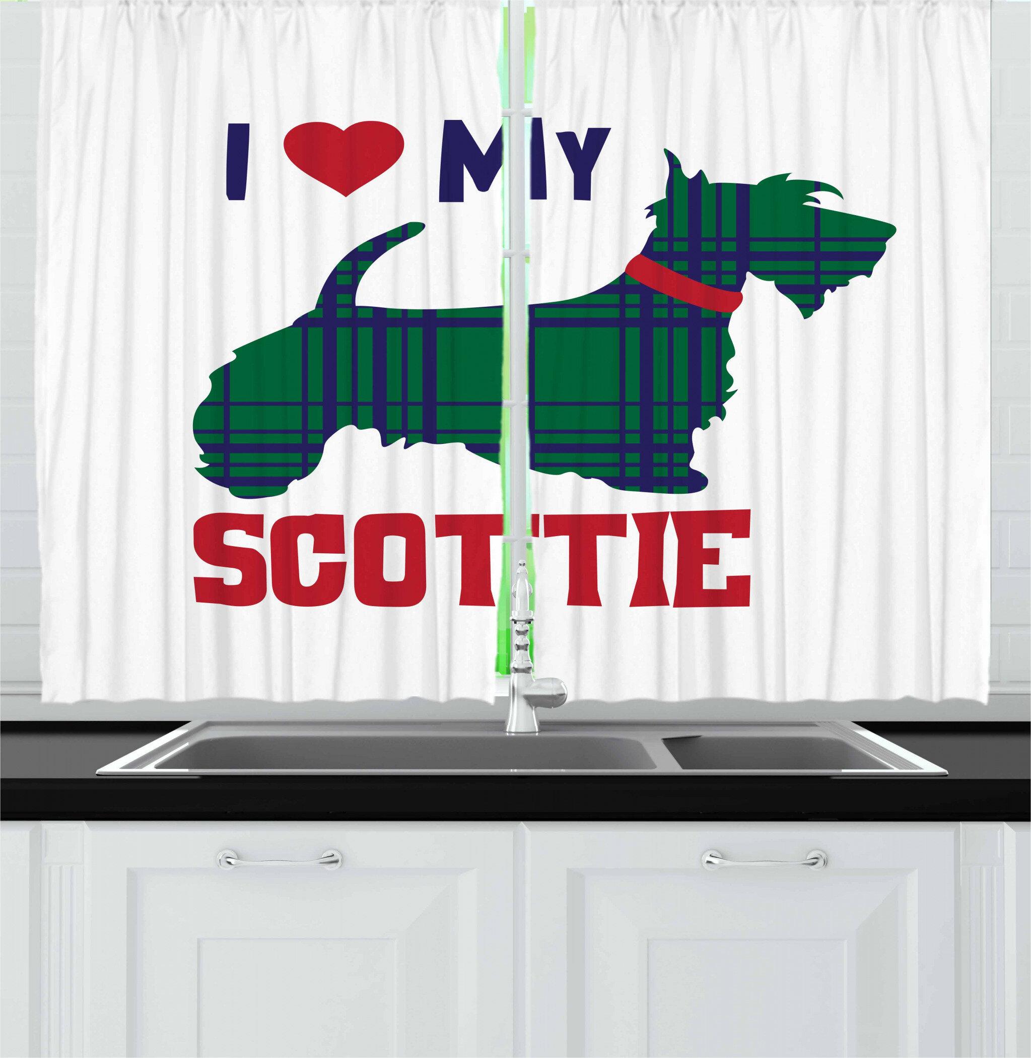 East Urban Home Scottie Dog 2 Piece Kitchen Curtain Set Wayfair
