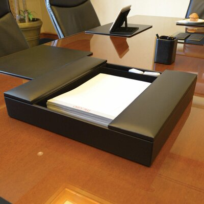 1000 Series Classic Leather Conference Room Organizer in Black Dacasso