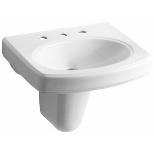 Best Reviews Pinoir Ceramic 22 Wall Mount Bathroom Sink with Overflow By Kohler