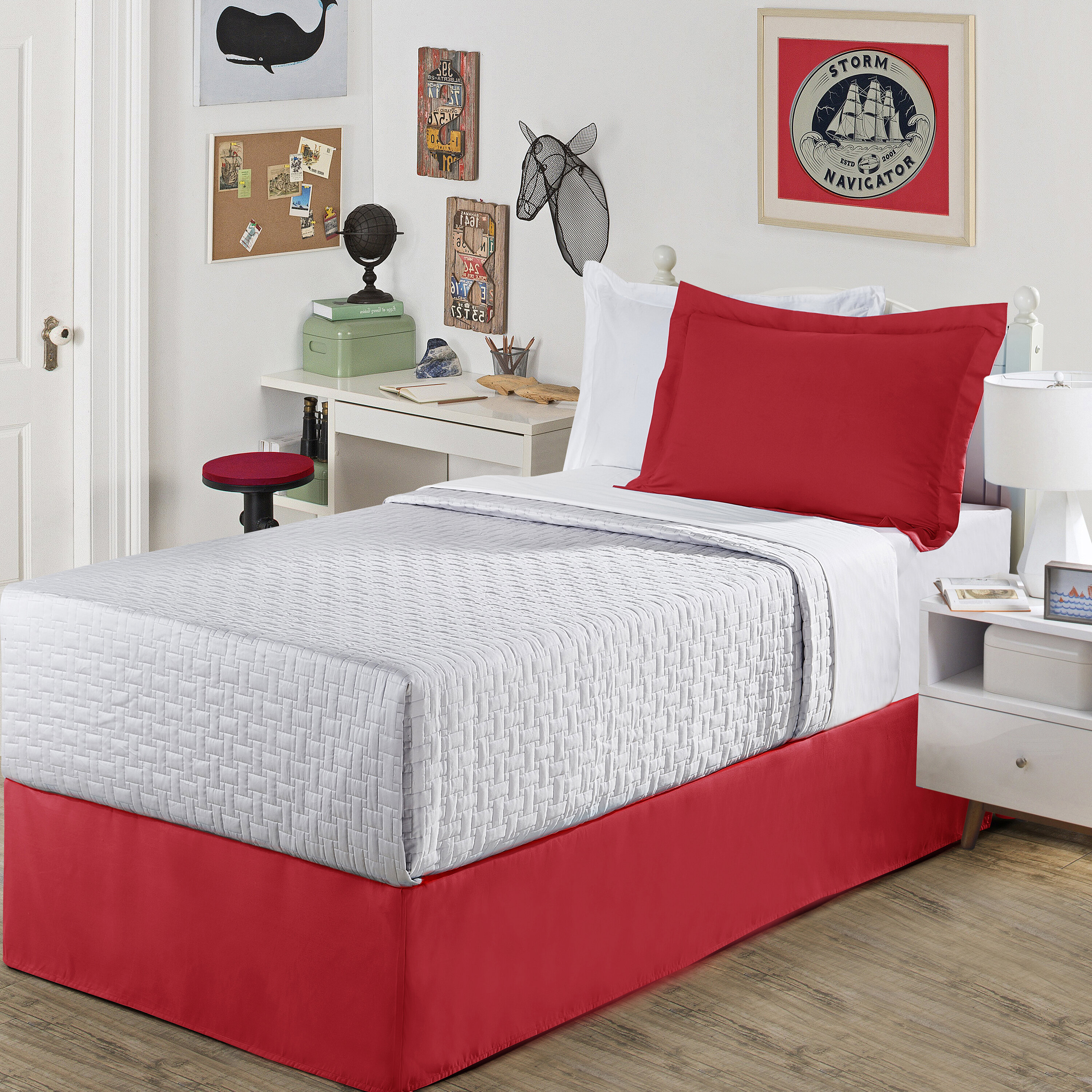 """Tailored Pleat Red Luxury Hotel Bed Skirt 14/"""" Drop"""