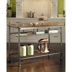 Kibbe Kitchen Island With Butcher Block Top Awesome Ideas