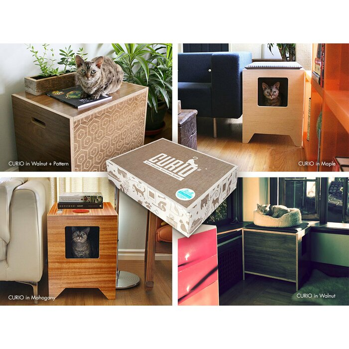 Modern Litter Box Enclosure With Pattern