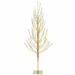 2 Gold Pine Artificial Christmas Tree With 120 Led Clear White Lights Stand